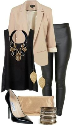 Beige Blazer, Black Blouse, Leggins and Heels for a night out.