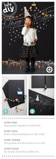 Miss the Christmas card timeline? Wish everyone a Happy New Year instead with this photo card DIY. Supplies needed: 4–8 black foam core panels, black tape, chalk, garland or string lights.