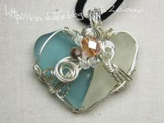 Sea glass & Silver wire pendant via Kim Chabert