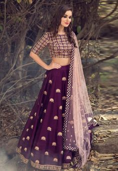 Purple Party Wear Lehenga Choli Textile Mall Textile Now at TextileMall. Lehnga Dress, Lehenga Gown, Party Wear Lehenga, Bridal Lehenga Choli, Ghagra Choli, Wedding Chaniya Choli, Lehenga Wedding, Designer Bridal Lehenga, Lehenga Blouse