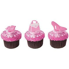 Our Pretty In Pink Decopics feature a pair of lips, a pink and white purse and a high heeled shoe.