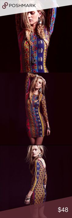 """Printed Bodycon DRESS Hyperion Red Ethnic Tribal BRAND NEW!! Beautiful boho-printed  bodycon dress with three quarter sleeves.  Pls note: this is an austin gal boutique item. Similar style by Free People x Novella Royale.  S: Waist: 34.6-39.4""""/Length: 32.8"""" M: Waist: 36.2-40.9""""/Length: 33.07"""" L: Waist: 37.8-42.52""""/Length: 33.46""""  Item is Brand New, direct from the Manufacturer, & Sealed in Pkg. austin gal Dresses"""