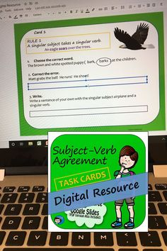 Subject-Verb Agreement Task Cards - Digital Resource for Google Slides – these task cards provide students in middle school and upper elementary grades with lots of practice using the rules of subject-verb agreement. Both the digital resource and a PDF version are included. Subject Verb Agreement, Subject And Verb, Close Reading Activities, Teaching Reading, Grammar Skills, Writing Skills, Learning To Write, Student Learning, Multiple Meaning Words