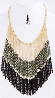 Two Tone Beaded Black Gray Dangle Fringe Necklace Earrings Boutique $199 | eBay