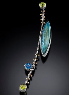 "sara westermark jewelry -   ""Byzantium Brooch"" sterling silver, 18k gold, labradorite, blue topaz, peridot and champagne diamond."