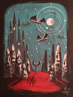 El Gato Gomez Painting Retro 1960 039 s Vintage Sci Fi Horror Vampire Monsters Pulp | eBay