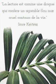 """""""La lecture est comme une drogue qui confère un agréable flou aux cruels contours de la vie."""" Imre Kertész"""