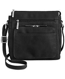 Giani Bernini Nappa Leather Front Zip Crossbody, Created for Macy's - Tan/Beige Small Sized Bags, Giani Bernini, Stitching Leather, Womens Purses, Black Cross Body Bag, Or Antique, Handbag Accessories, Leather Crossbody Bag, Crossbody Bags