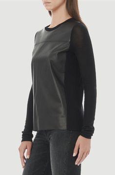 Vince | Leather Front Sweater #maloufs www.maloufs.com
