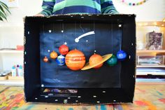 Caspar's Solar System Diorama at How we Montessori Solar System Projects For Kids, Solar System Model, Solar System Crafts, Kids Art Class, Art For Kids, Crafts For Kids, Science Projects, School Projects, Childrens Workshop