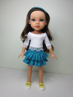 Hearts 4 Hearts doll clothes - White boatneck top  with lace trim and turquoise ruffle skirt by JazzyDollDuds