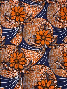 tissu orange et bleu