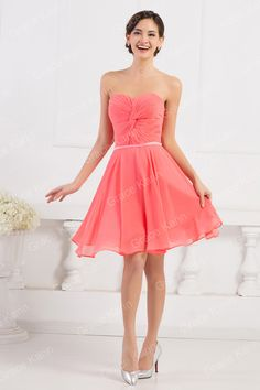 New Strapless Watermelon Red Lace-up back fashion Short Bridesmaid Dresses  Women Knee-length Wedding Party Dress 6297. Evening Dress 2e4363686739