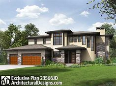 Above And Beyond III On Basement - 23567JD | Contemporary, Northwest, Prairie, Exclusive, 2nd Floor Master Suite, Butler Walk-in Pantry, CAD Available, Den-Office-Library-Study, MBR Sitting Area, Media-Game-Home Theater, PDF, Sloping Lot | Architectural Designs