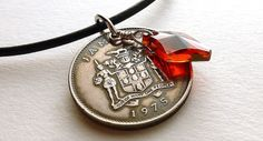 Jamaican necklace Swarovski necklace Coin necklace by CoinStories