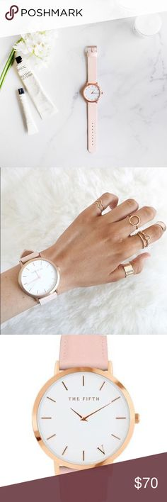 Minimalist Rose Gold Watch Beautiful, classy, minimalist watch. Rose gold with a light pink leather strap. From The Fifth. Brand New! The Fifth Accessories Watches