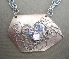 Silver Metal Clay with CZ Statement Necklace by FirednWiredJewelry on etsy