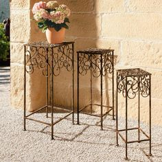 Plant Stands, Set of 3 Plant stand, pedestal, side table. In wrought iron. Handmade. 100% weatherproof.