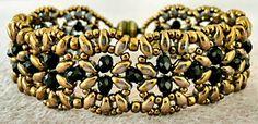 "INDIA BRACELET 11/0 seed beads Miyuki ""Dark Bronze"" (11-457D)  8/0 seed beads Miyuki ""Dark Bronze"" (8-457D)  •4mm rondelles (#C04 Black - Beads One)  •SuperDuo beads ""Luster Gold"""