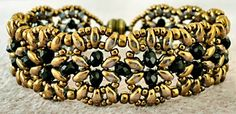 "INDIA BRACELET 11/0 seed beads Miyuki ""Dark Bronze"" (11-457D)  8/0 seed beads Miyuki ""Dark Bronze"" (8-457D)  •4mm rondelles (#C04 Black - Beads One)  •SuperDuo beads ""Luster Gold"""