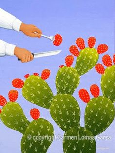 Tunas And Nopales Eating Cactus Cactus Art American Fine Art Painting