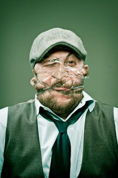 Silly Portraits of People with Scotch Tape on Their Faces #humour #design