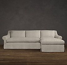 Belgian Roll Arm Slipcovered Right-Arm Sofa Chaise Sectional RH