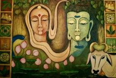 Lord Shiva with goddess sati and Nandikeshwar.