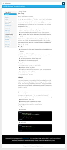 Free Documentation HTML Template - DocWeb | GUGGGLY