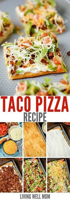 "Taco Pizza. With a cream cheese/sour cream ""sauce"" and spicy taco flavor, Taco Pizza is a great as an easy family dinner or a tasty appetizer. Every time I make this, I can never be sure who loves it more – the kids or my husband; they all gobble it up and ask for more!"