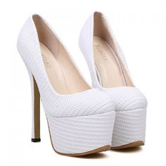Party White and Weaving Design Women's Super High Heel Pumps, WHITE, 38 in Pumps   DressLily.com