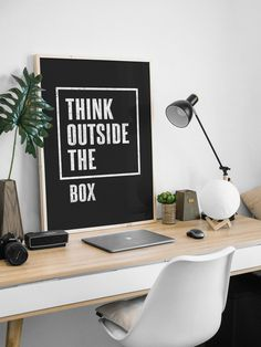 Think Outside the Box Printable Wall Art, Black & White Quote, Typography Art, Inspirational Wall Art, Minimalist Home Decor Kitchen Wall Art, Home Wall Art, Face Line Drawing, Alphabet Print, Minimalist Home Decor, Thinking Outside The Box, Inspirational Wall Art, Scandinavian Home, Typography Art