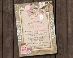 Girl Baby Shower Invitation Rustic Burlap Mason Jar Tree Branch Pink Tan Floral Fairy Light Lace Printable Digital I Customize For You