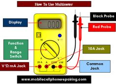 How to Use Digital Multimeter - Guide and Tutorial. Using analog or digital multimeter in PCB, Electronics or mobile phone repairing is must. Electrical Work, Electrical Projects, Electrical Engineering, Electronic Engineering, T Mobile Phones, Mobile Phone Repair, Diy Electronics, Electronics Projects, Dyi
