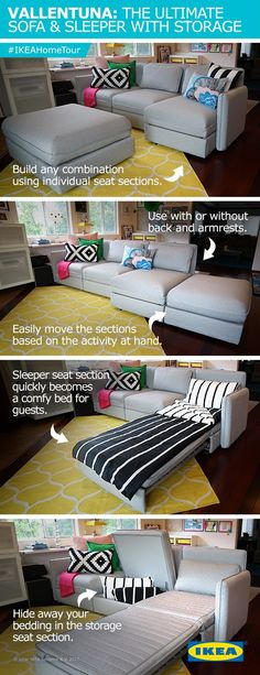 The IKEA VALLENTUNA sofa is the ultimate solution for any living room. The IKEA Home Tour Squad used it in their latest living room makeover because of its ability to be customized into any any shape and size. Build any combination using individual seat sections, easily move the sections around or turn it into a comfy bed for overnight guests.