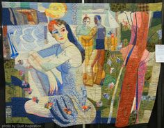 """Woman with Two Gents, 60 x 78"""", by Leslie Gabriëlse (Rotterdam, Netherlands).  Photo by Quilt Inspiration."""