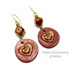 polymer charms - Andrew Thornton glass beads brass wire handmade brass ear wires 2.25 inches, very light weight All earrings come carded and in an organza bag perfect for gift giving and storage. #indiemade