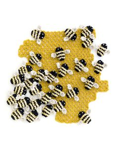crocheted bees - Kate Jenkins. Inspiration for irish crochet motif