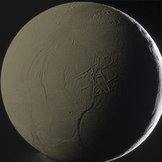 Enceladus, Saturn's most enigmatic of icy moons. The Cassini–Huygens mission is a cooperative project of NASA, ESA and ASI, the Italian space agency.