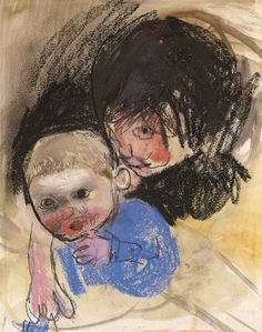Joan Eardley − Girl Nursing a Baby, Pastel on paper Scottish Women, Art Society, Fine Art Gallery, Famous Artists, Artist Art, Boating, Landscape Paintings, Art Ideas, Portrait