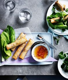 Vietnamese spring rolls with mustard leaves and herbs recipe, Anchovy, Melbourne :: Gourmet Traveller