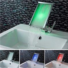 Zeige Details für Zeitgenössische Farbwechsel Wasserfall Bad Waschtischarmatur (verchromt)