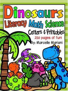 Dinosaurs-Literacy, Math and Science Fun- Printables and Centers- CCSS Aligned from KinderPrep on TeachersNotebook.com - (250 pages) - This package offers literacy and math centers and printables as well as science visuals, posters and worksheets to help you facilitate a dinosaur theme pack. Tools for Hands-on learning.