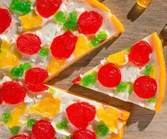 Give your pizza party the perfect ending by serving up some delicious slices of gummy pizza for dessert. 300 Calories, Pizza Party, Served Up, Cavities, Good Food, Fun Food, Best Gifts, Food And Drink, Pudding