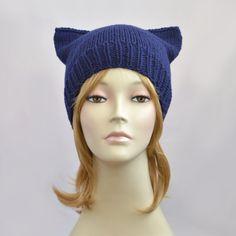 Navy Blue Cat Hat Knit Cat Ear Hat or Cat Beanie by SlouchyBeanie