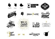 coffee typography - Graphics Great Logos, badges and insignias ready to use, fully editable.