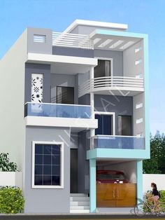 top Ideas for modern small house design exterior 3 Storey House Design, Duplex House Design, Modern Small House Design, Modern Exterior House Designs, 2bhk House Plan, Model House Plan, Duplex House Plans, House Outside Design, House Front Design