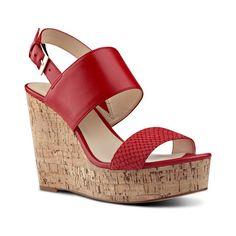 Nine West Dayton Wedge Sandals ($30) ❤ liked on Polyvore featuring shoes, sandals, cork wedge sandals, wedge sandals, strappy wedge sandals, platform wedge sandals and red platform sandals