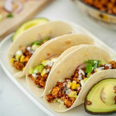 3 soft tacos filled with Mexican tofu crumbles on a white platter. Mexican Spice Mix, Tofu Tacos, Taco Fillings, Loaded Sweet Potato, Tinned Tomatoes, Fussy Eaters, Baked Tofu, Dinner Recipes