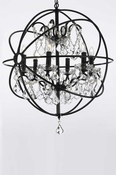 Restoration Hardware Foucault's Orb Crystal Chandelier. Also in ...:Versailles Wrought Iron and Crystal Orb Chandelier,Lighting